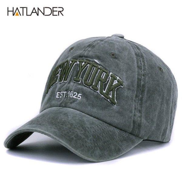 [HATLANDER]Sand washed 100% cotton baseball cap hat for women men vintage dad hat NEW YORK embroidery letter outdoor sports caps 7