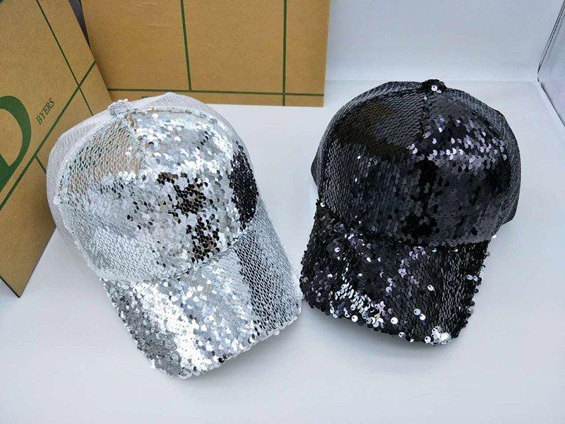 4ce91b91ff912e NEW Sequins Paillette Bling Shinning Mesh Baseball Cap Striking Pretty  Adjustable Women Girls Hats ...
