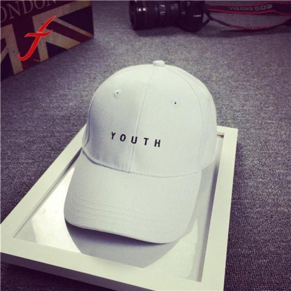 Unisex Baseball Cap Boy Casual Black White Letter Casual Snap Back Cotton Hat