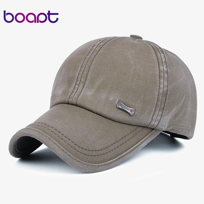 1a6808a4122  boapt  classic fashion metal label cotton men baseball caps summer snapback  cap unisex vintage sun hat man fashion women hats