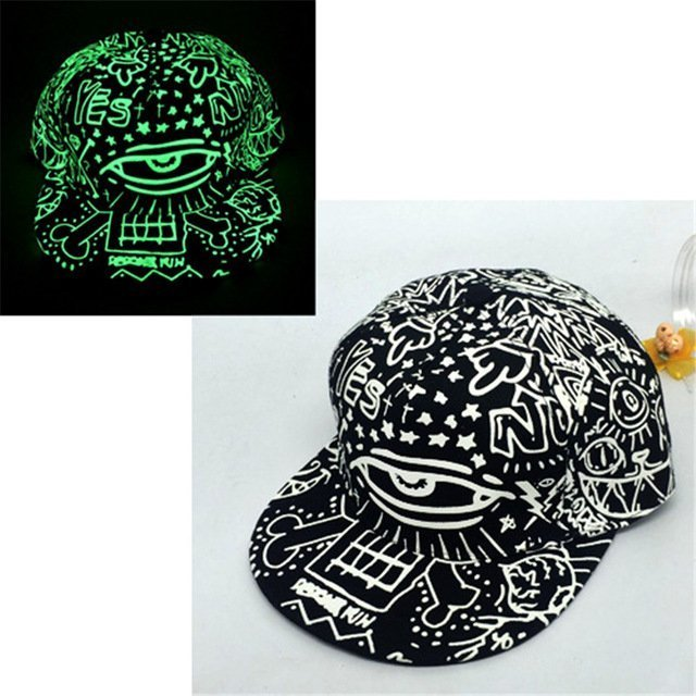 8deab23ede3 green Glow Dark Snapback Caps little stars Hip Hop Fluorescent Baseball Cap  ...