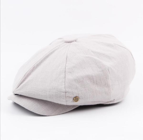 octagonal cap winter male British style retro linen painter hat solid color stitching fashion hat 4