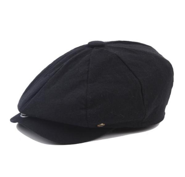 octagonal cap winter male British style retro linen painter hat solid color stitching fashion hat 8