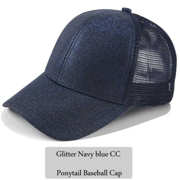 62fa4f31052d 2018 CC Glitter Ponytail Baseball Cap Women Snapback Hat Summer Messy Bun  Mesh Hats Casual Adjustable Sport ...