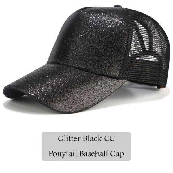613de363 2018 CC Glitter Ponytail Baseball Cap Women Snapback Hat Summer Messy Bun  Mesh Hats Casual ...