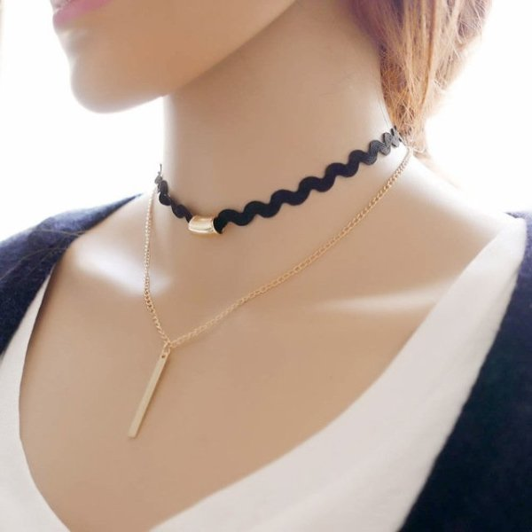 New hollow Designs Velvet Chokers Necklace Black Leather Rope Chain layer Chocker Vintage Jewelry for women Collier femme 4