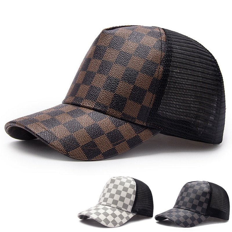capshop.store Black Trucker Cap Men Summer Leather Caps Hip Hop Dad Hat Casual