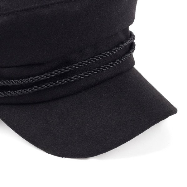 Fashion Blank Black High Quality Newsboy Caps for Women Spring Autumn Winter Hats Felt Cap Winter Ladies Black Hat Beret Cap 4