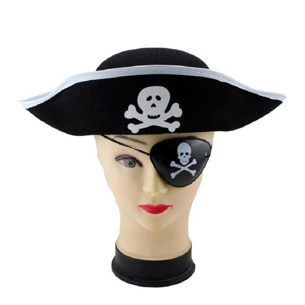 Pirate Cap Skull Print Pirate Captain Costume Cap Halloween Masquerade Party Cosplay Hat Prop 4