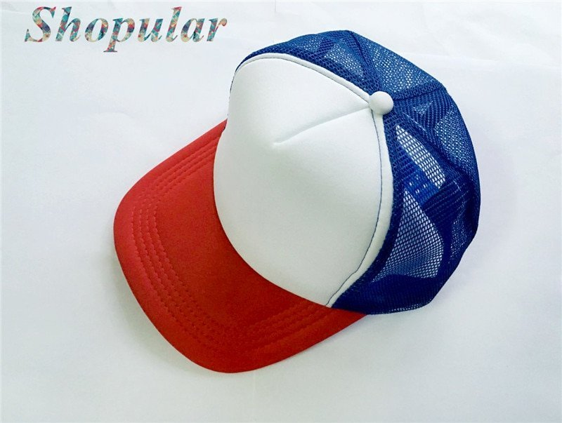 Stranger Things Dustin HAT RED WHITE BLUE Trucker Baseball Mesh Cap  Adjustable Hat Costumes Cosplay 471a85714f46