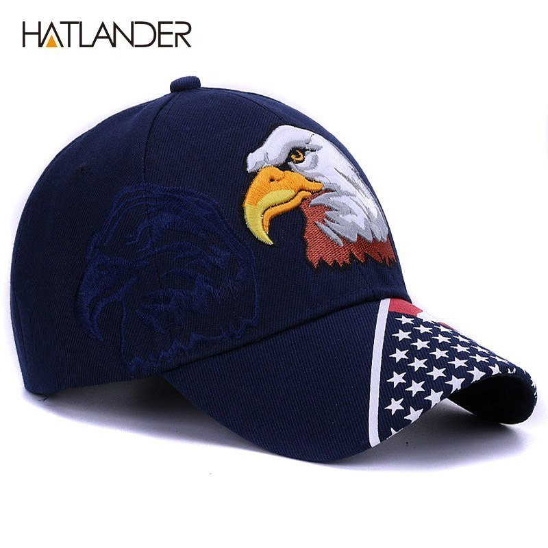 HATLANDER 2018 Spring summer mens baseball caps embroidery Eagle ... 085ee12e391f