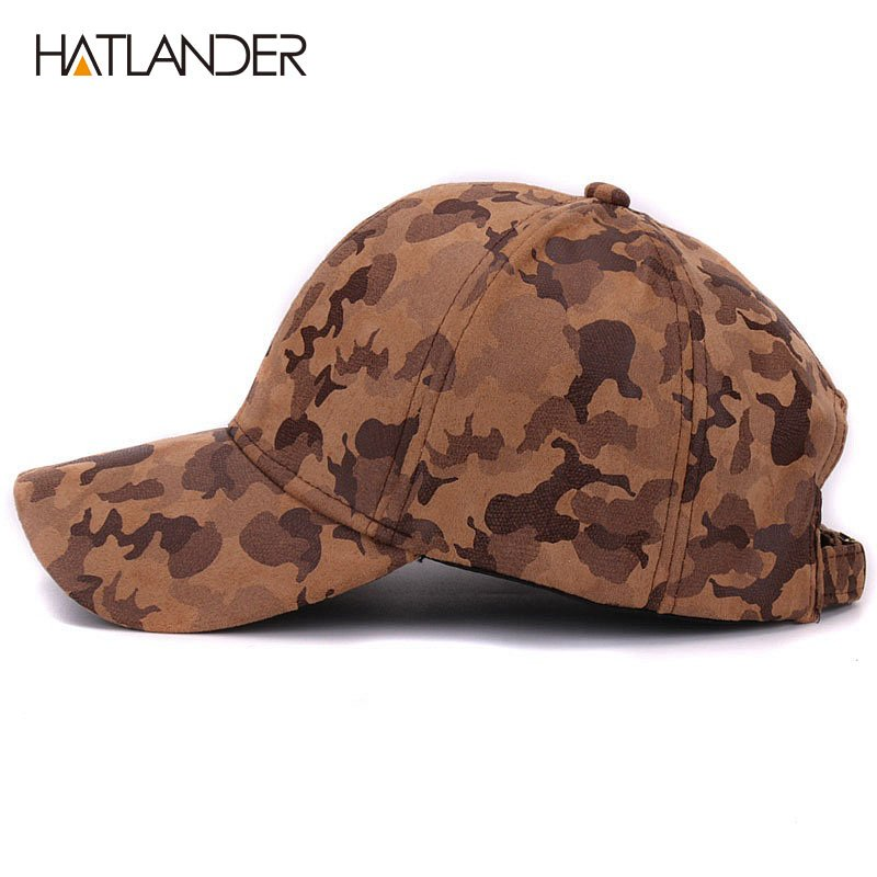 755bf8a5567 HATLANDER Brand Suede camouflage baseball caps for women mens ...