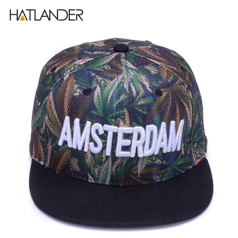 890e9471f68 HATLANDER Fashion Print flat men hats swag hip hop cap letter 6panel ...