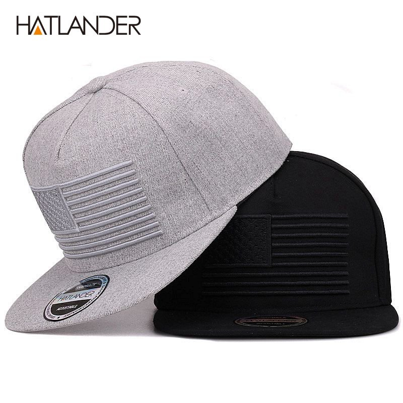 HATLANDER  Raised flag embroidery cool flat bill baseball cap mens ... d587085d124
