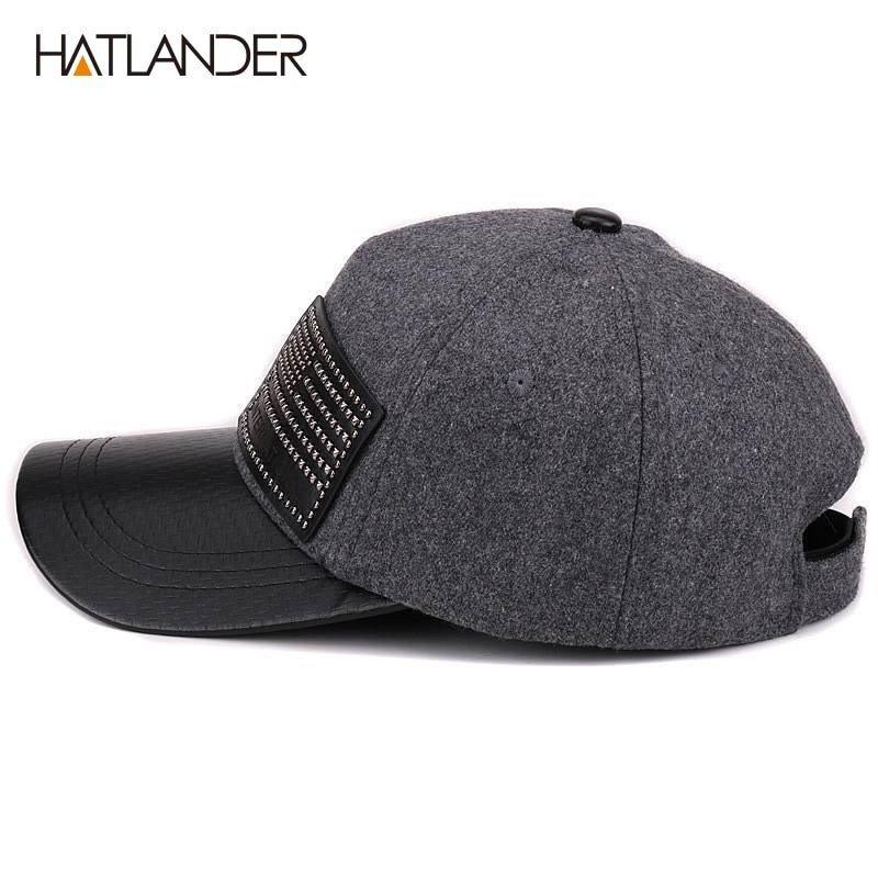 1f5b12ab17d HATLANDER  Thick Wool Baseball Caps For Men Women Winter Hat Solid ...