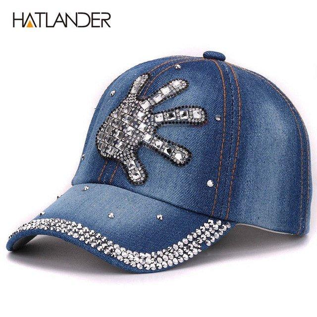Hatlander kids rhinestones denim baseball caps children luxury ... e2ba09f5113