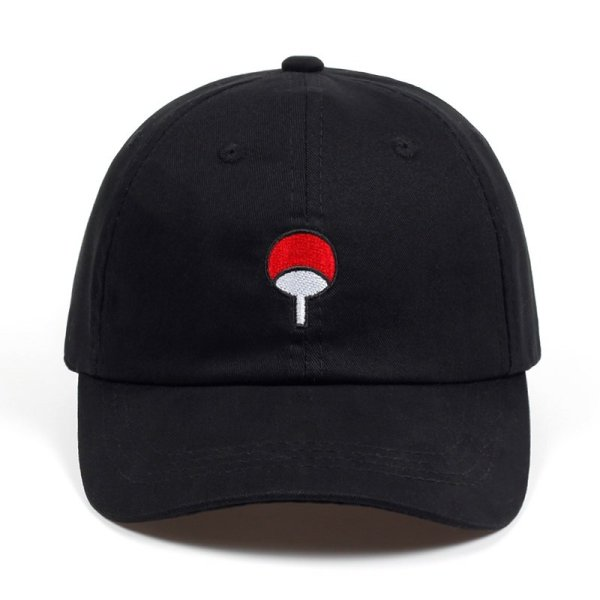 100% Cotton Japanese Anime Naruto Dad Hat Uchiha Family Logo Embroidery Baseball Caps Black Snapback Hat Hip Hop for Women Men 4
