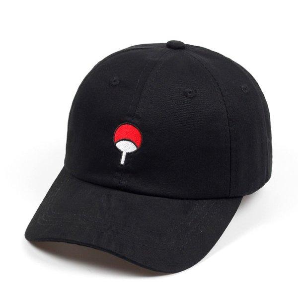 100% Cotton Japanese Anime Naruto Dad Hat Uchiha Family Logo Embroidery Baseball Caps Black Snapback Hat Hip Hop for Women Men 1