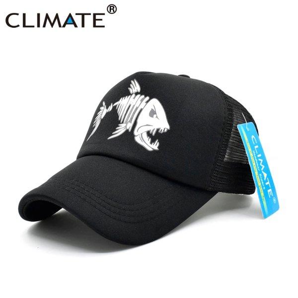 CLIMATE Fishbone Trucker Cap Men Fishing Skeleton Fish Bone Cap HipHop Baseball Caps Summer Fisher Man Mesh Caps Hat for Men 3