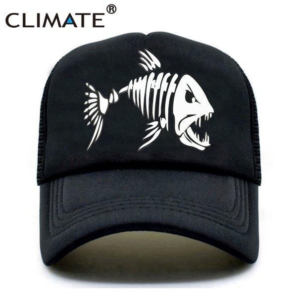 CLIMATE Fishbone Trucker Cap Men Fishing Skeleton Fish Bone Cap HipHop Baseball Caps Summer Fisher Man Mesh Caps Hat for Men 1