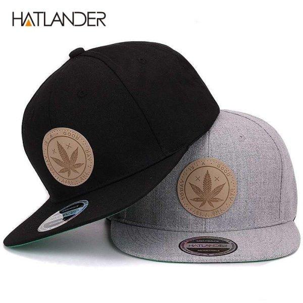 [HATLANDER]Maple solid cotton snapback caps women's flat brim hip hop cap outdoor baseball cap bone gorras mens caps and hats 2