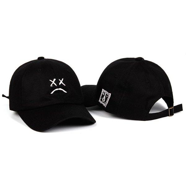 Lil Peep Dad Hat Embroidery 100% Cotton Baseball Cap Sad face Hat xxxtentacion Hip Hop Cap Golf Love lil.peep Snapback Women Men 2