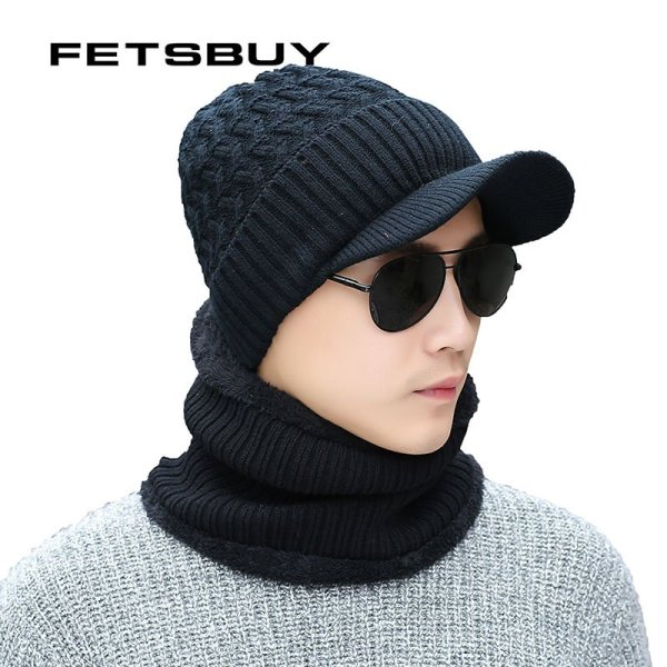 2018 Winter Beanie Hat Scarf skullies beanies Soft Skull Warm Baggy Cap Mask Gorros Winter Hats For Men Women Knitted Hat 8