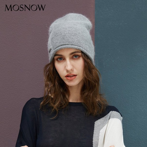 2019 New Women Hat Baggy Bonnet Beanies Female Rabbit Hair Wool Knitted Winter Hats Soft Skiing Slouchy Beanie With Back Opening 4