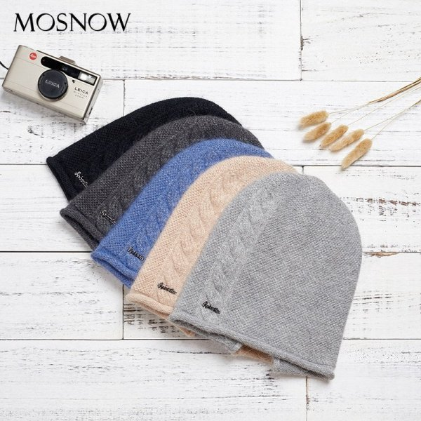 2019 New Women Hat Baggy Bonnet Beanies Female Rabbit Hair Wool Knitted Winter Hats Soft Skiing Slouchy Beanie With Back Opening 12