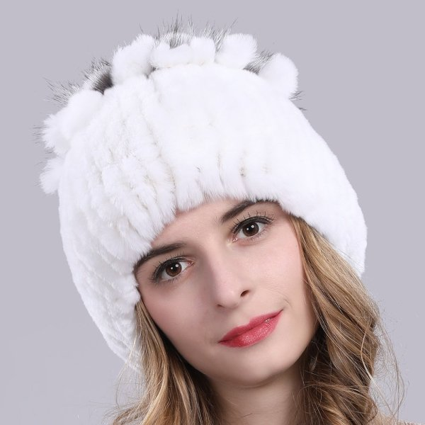 2019 Russia Hot Sale Winter Real Fur Beanies Hat Women 100% Genuine Real Rex Rabbit Hat Good Elastic Knitted Rex Rabbit Fur Caps 8