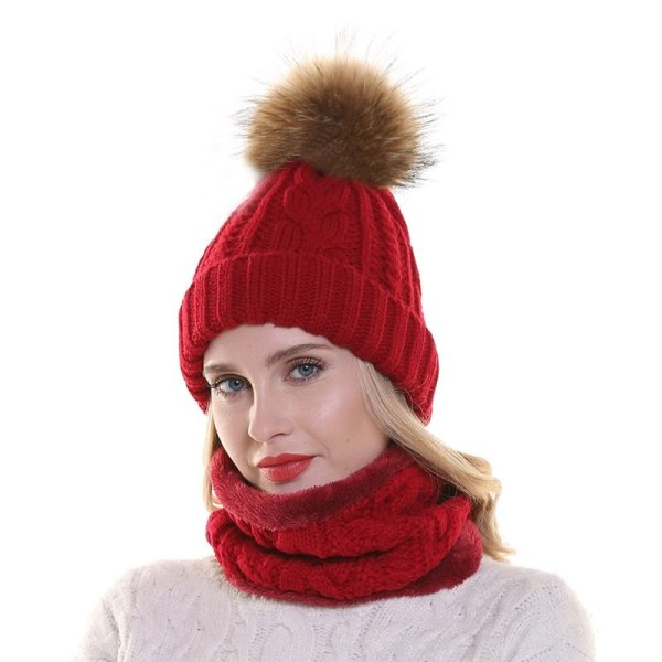 2019 Womens Hats With Scarf Warm Fleece Inside Beanie Girls Winter Cap For Women Real Mink Fur Pompom Hat Female Knitted Caps 4