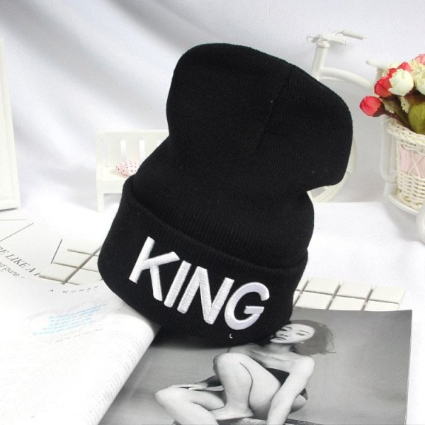 Beanies Cap KING QUEEN Letter Embroidery Warm Winter Hat Knitted Cap Hip Hop Men Women Lovers Street Dance Bonnet Skullies Black 6