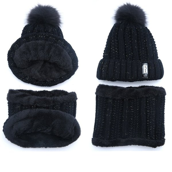 Brand Winter knitted Beanies Hats Women Thick Warm Beanie Skullies Hat Female knit Letter Bonnet Beanie Caps Outdoor Riding Sets 12