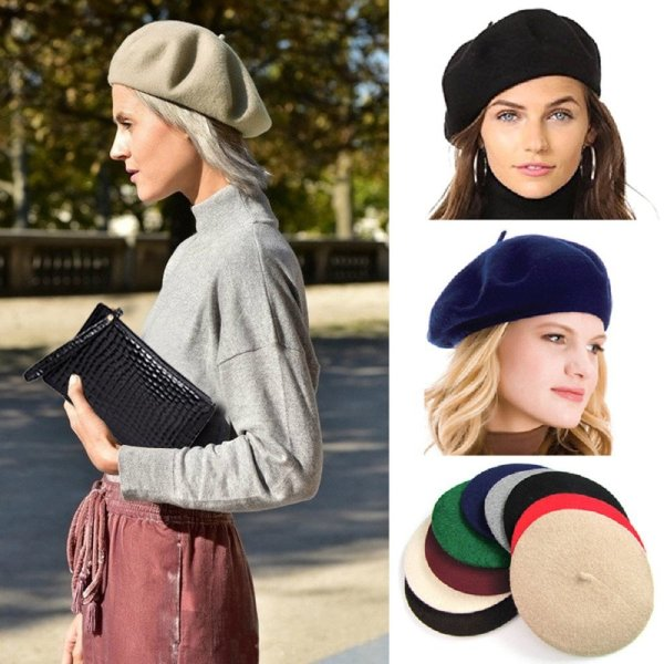Elegant Lady Women Wool Felt Warm French Classic Beret Beanie Slouch Hat Cap Tam 2