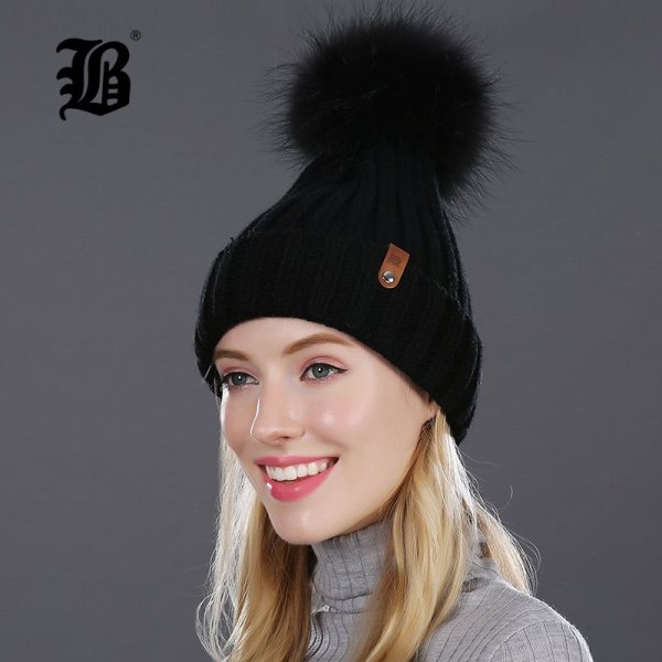 [FLB] Wholesale Real Mink Fur Pom Poms Knitted Hat Ball Beanies Winter Hat For Women Girl 'S Wool Hat Cotton Skullies Female Cap 4