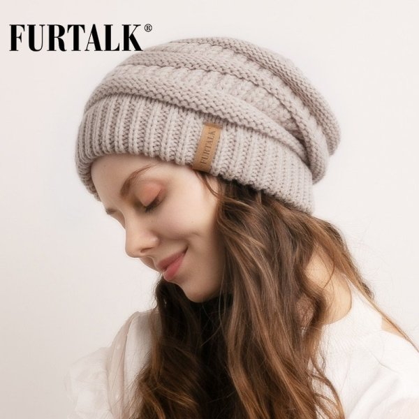 FURTALK Slouchy Beanie Winter Hat for Women Knitted Warm Fleece Lining Hat for Female Skullies Beanies Red Yellow Black Grey Cap 12