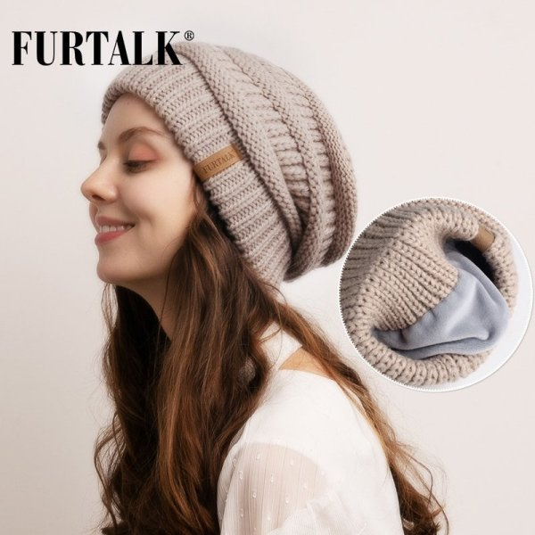 FURTALK Slouchy Beanie Winter Hat for Women Knitted Warm Fleece Lining Hat for Female Skullies Beanies Red Yellow Black Grey Cap 2