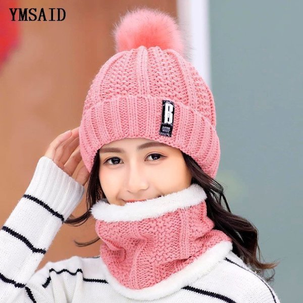 High Quality Ski Cap 2018 New Brand Wool Fur Lining Ball Cap Pompom Winter Hat For Women Girls Warm Knitted Scarf Hat 11.11 8