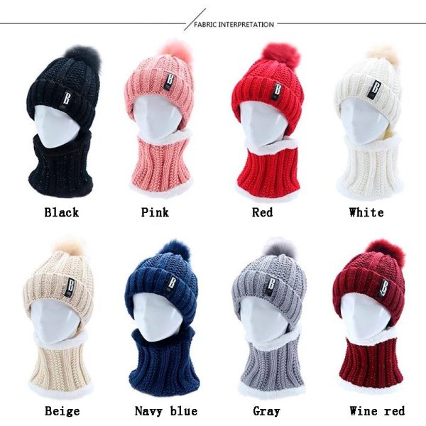 High Quality Ski Cap 2018 New Brand Wool Fur Lining Ball Cap Pompom Winter Hat For Women Girls Warm Knitted Scarf Hat 11.11 12