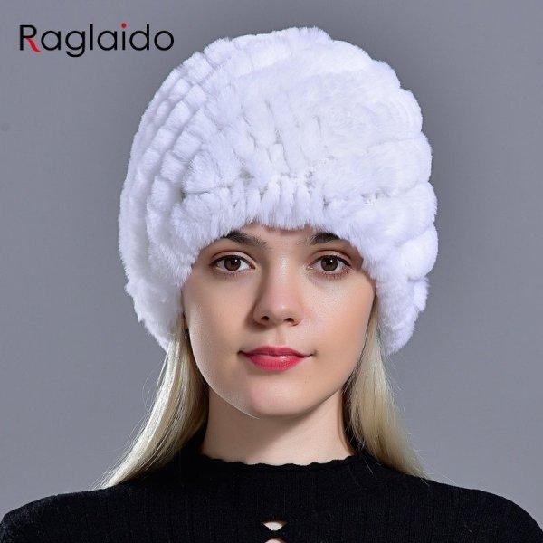 Raglaido Rabbit winter fur hat for Women Russian Real Fur Knitted Cap headgea Winter Warm Beanie Hats 2019 fashion brand LQ11279 6