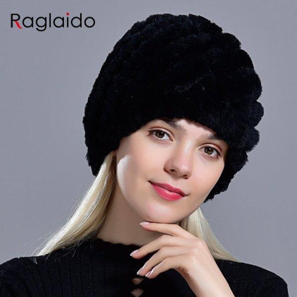 Raglaido Rabbit winter fur hat for Women Russian Real Fur Knitted Cap headgea Winter Warm Beanie Hats 2019 fashion brand LQ11279 8