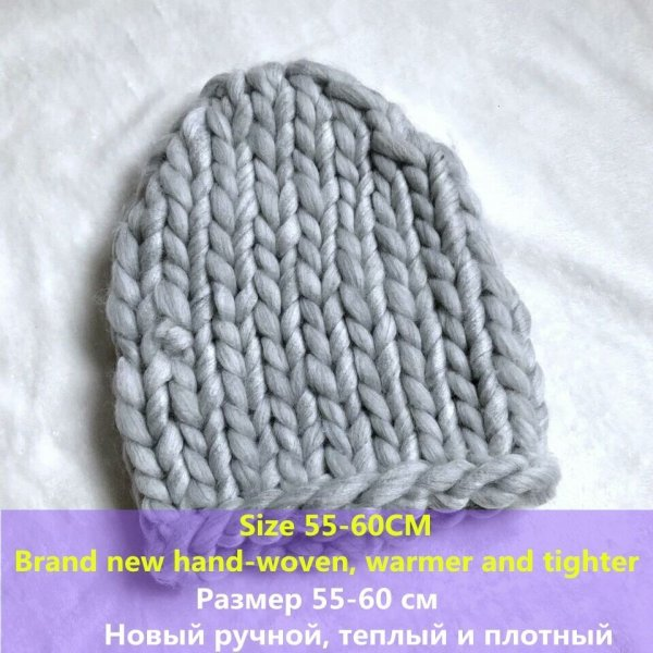 Simple girl Casual Cotton Acrylic Rushed New Fashion Female Winter wool Hats Hand Coarse Knitted Hat For Women Beanies 12