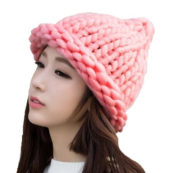 Simple girl Casual Cotton Acrylic Rushed New Fashion Female Winter wool Hats Hand Coarse Knitted Hat For Women Beanies 2