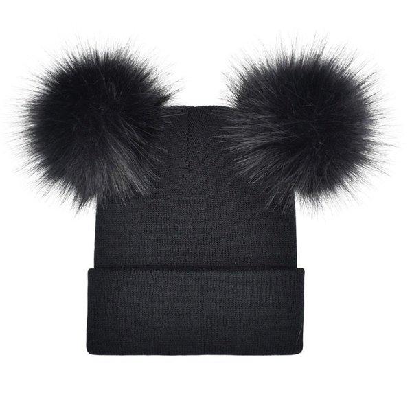 Women Double Faux Fur Pom Pom Hat Pompom Hat Winter Hats for Women Knitted  Beanie Women Girls Winter Caps Skullies Beanies 4