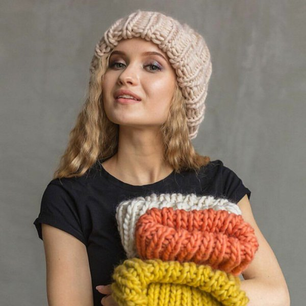 Women Winter Knitted Beanies Hat Thick Soft Warm Coarse Large Knitted Solid Hat Female Ice Ski Bonnet Skullies Beanies Hat Cap 6