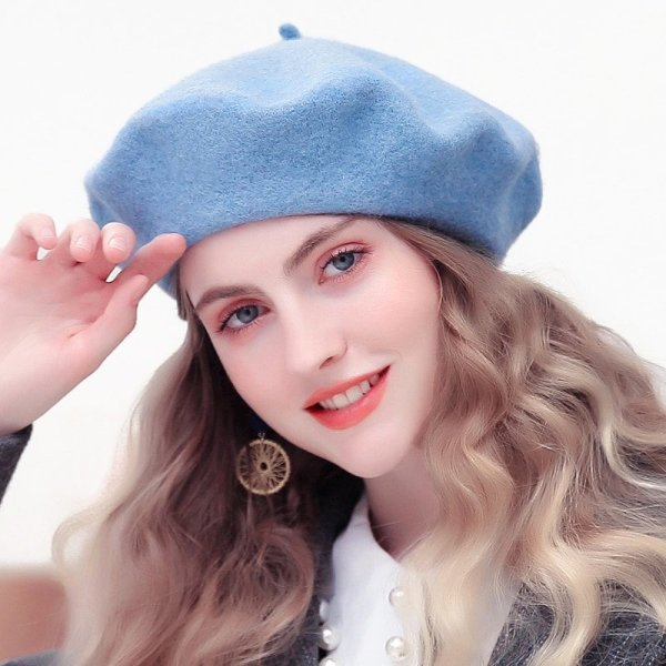 Wool Beret Hats Women Winter French Hat Girls Solid Color Fashion  Autumn Winter Beret Hat For Women Flat Cap Hat Felt Berets 4