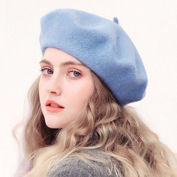 Wool Beret Hats Women Winter French Hat Girls Solid Color Fashion  Autumn Winter Beret Hat For Women Flat Cap Hat Felt Berets 2