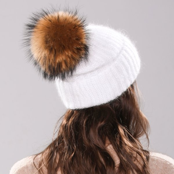 Xthree 70% Angola Rabbit fur knitted hat with real fur pom pom hat Skullie beanie winter hat for women  girl 's hat female cap 8