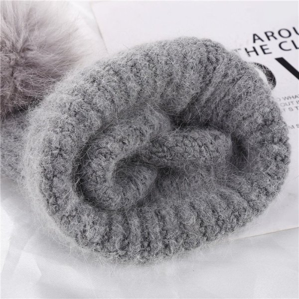 Xthree 70% Angola Rabbit fur knitted hat with real fur pom pom hat Skullie beanie winter hat for women  girl 's hat female cap 12