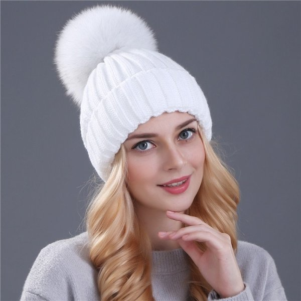 Xthree mink and fox fur ball cap pom poms winter hat for women girl 's hat knitted  beanies cap brand new thick female cap 12
